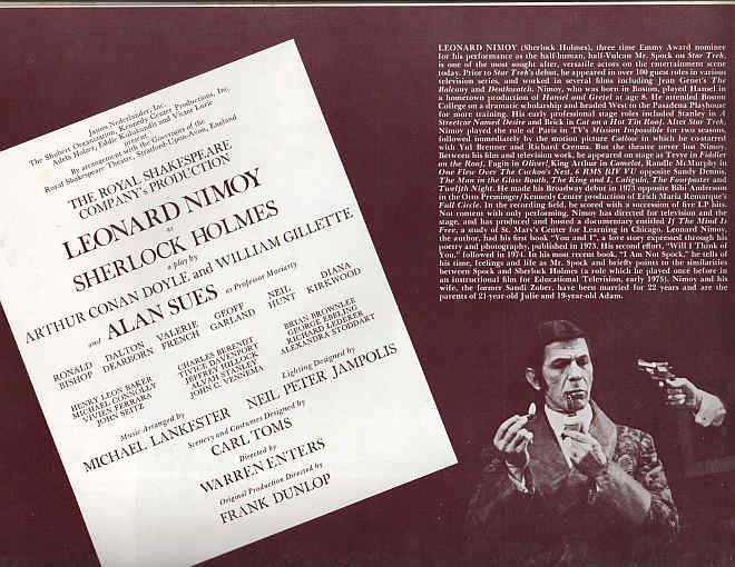 Program from the Private Life of Sherlock Holmes